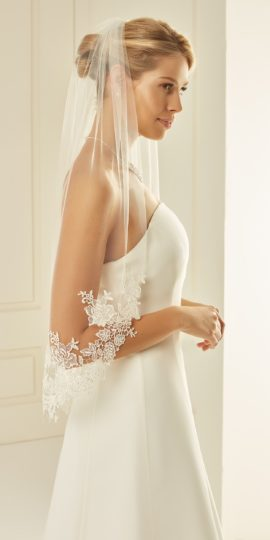 S 238 Veil with cut edge and lace edge, Længde: 70 cm, Ivory